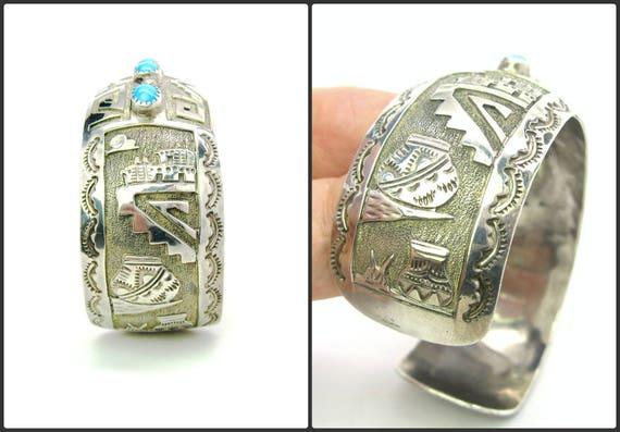 Vintage Native American Hopi Scenic Sterling Silver & Turquoise Bracelet