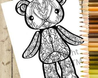 TEDDY BEAR Adult Coloring Page – Printable Coloring Page Animal Plush Adult Coloring Book Page Teddy Bear Doll Adult Coloring Page DOWNLOAD