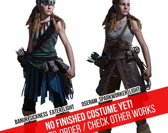Aloy from Horizon Zero Dawn CUSTOM MADE COSPLAY Oseram Sparkworker & Banuk Sickness Eater costume sets
