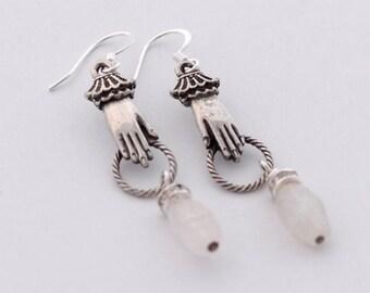 Moonstone Hand earrings, B'sue by 1928 Jewelry Component Earrings, Fine Silver Earrings, Victorian Style Earrings, Moonstone Earrings, SRAJD