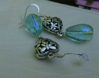 Glass Teardrop Under Silver Antiqued Heart (E86)