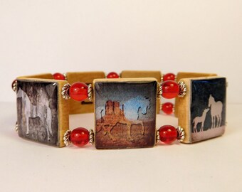 WESTERN JEWELRY / Horse - Cowgirl SCRABBLE Bracelet / Upcycled Unusual Gifts
