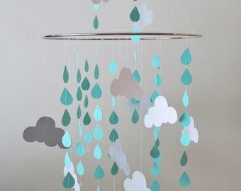 Rain Cloud Mobile - Raindrops, Clouds, Nursery Mobile, Baby Mobile Handmade Mobile, Custom Color Mobile, Home Decor, Turquoise, Mint Mobile