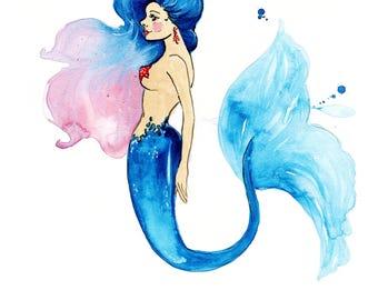 Mermaid Print of Original Watercolor Illustration