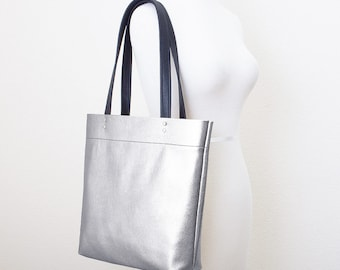 Metallic Leather Tote, Silver Leather Tote, Everyday Shoulder Bag, Minimal Leather Tote, Leather Shopper Tote, Silver Leather Laptop Bag