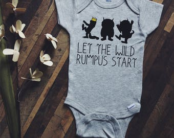 Let the wild rumpus start, baby bodysuits, baby announcement, baby shower gift, matching tees, sibling tees