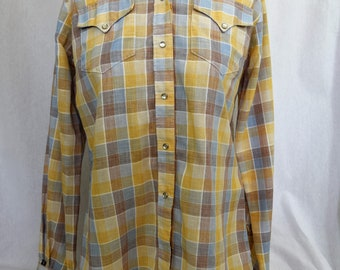 Vintage 1970s yellow, blue, brown plaid Rockmount Ranch wear western style women's blouse shirt with pearl snaps