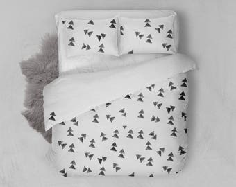 Geometric print -All sizes - Organic cotton sateen bed linen - funny bedding, screen printed - Duvet cover + pillowcases
