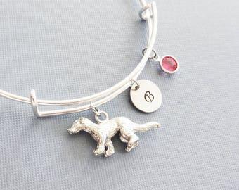 Ferret Bracelet, Weasel Bangle, Initial Bangle, Silver Bangle, Personalized, Expandable, Charm Bracelet, Swarovski Birthstone, BFF, Friend