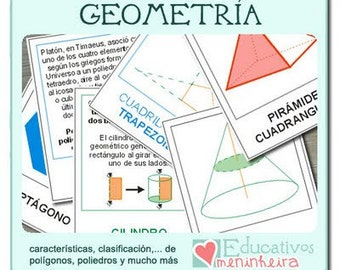 Tarjetas estilo Montessori de GEOMETRÍA - español -