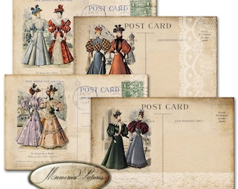 Vintage 4 Post Cards , victorian fashion , lace, printable postcards, instant dowmload, K10