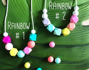 Rainbow | Silicone Necklace | Kids Jewellery | Sensory | Washable | BPA Free | Non Toxic | Beaded