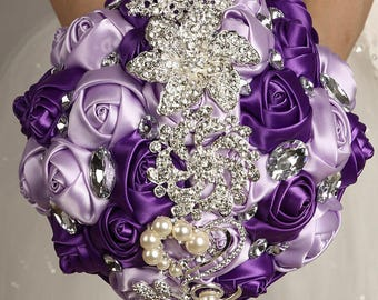 Lavender and Purple Mixed Satin Rose Bouquet Crystal Rhinestone Bridal Bouquet Bridesmaid Bouquet Brooch Bouquet Wedding Flowers