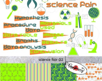 Science Fair Paper and Clipart SET: Digital Scrapbook Paper Pack (300 dpi) Science Fair Project Microscope DNA Test Tubes