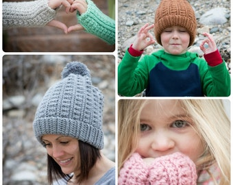 CROCHET PATTERN SET - Backcountry Beanie & Fingerless Gloves