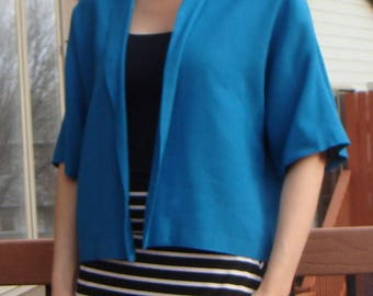 VINTAGE turquoise SKIRT SUIT 1960's 60's pencil skirt L