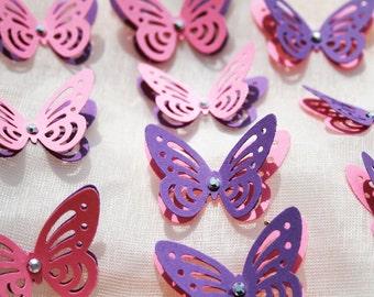 Purple and Pink Butterflies/ Paper Butterflies/ Butterflies DIE CUT/ Paper confetti/ Butterflies for scrapbooking/ Party décor/