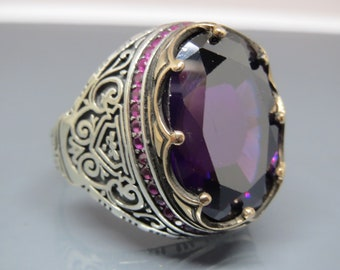 Men amethyst ring Etsy