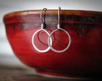 EARRINGS:  Brushed Sterling Silver Hoops, Unique Handcrafted Artisan Quality