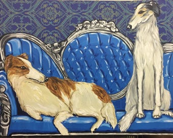 Elegant Borzois on Formal Blue Sofa Original Painting Collage