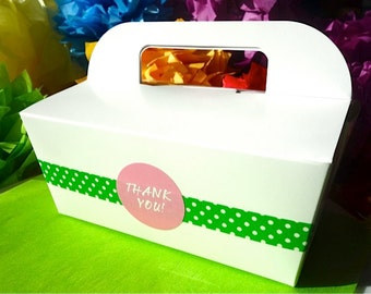 2 Dozen (24) Gable Cake Box THANK YOU Oscar Green Paper Food Grade Favor To Go w/ Handle Decorated Wedding Stickers Numbers, Letters, Phrase