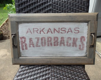 Handpainted Arkansas Razorback Wood Tray~Cast Iron Handles~Re-Purposed Cabinet Door~Home/TableDecor~Wooden~Primitive~Country