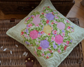 Green Garden of Flowers Patchwork Pillowcase