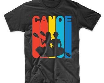 Retro 1970's Style Canoe Canoeing T-Shirt