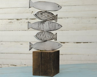 Fish Sculpture Lake Decor Wooden Fish Art Lake Home Decor Fresh Water Fish Beach House Decor Lake House Decor Rustic Reclaimed Wood