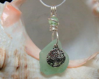 Sea Mist Green Sea Glass Necklace with Sand Dollar
