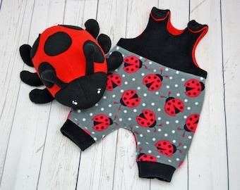 Ladybug romper & soft toy SET , baby clothes bodysuit dungarees overalls baggy harem pants kawaii insect ladybird bird  plushie christmas