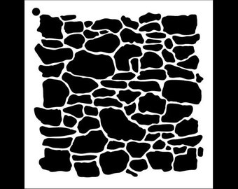 Stone Wall Pattern Stencil  - Select Size - STCL1019 by StudioR12