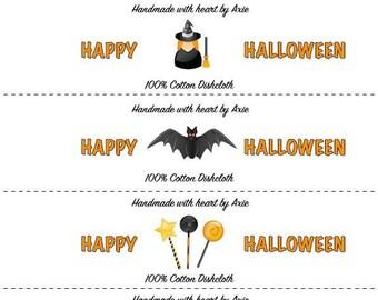 Halloween Washcloth/Dishcloth Labels-PDF/JPG only