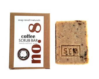 Natural Scrub Soap. Made with organic ingredients. coffee. pumice. loofah