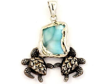 One of a Kind Larimar Pendant with Sea Turtles