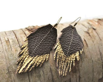 Leather Feather earrings- Repurposed Chocolate brown/gold