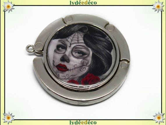 Bag retro Fleur Muerte woman Old School red gray white resin on metal silver hook