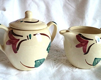 Vintage  Purinton Sugar Creamer Pottery Red Apple Blossom Ivy Pattern Cream Red Green Country Dining