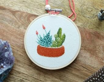 MADE TO ORDER - Cactus Hoop Art, Cactus Art, Embroidery Hoop Art, Cactus Wall Art, Cactus Embroidery, Embroidery, Plant Embroidery, Hoop Art