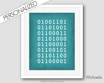 Personalized Gift, Binary Code Name, Nerdy Nursery Decor, Computer Geek Gifts, Best Seller