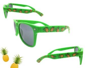 Women's Green Sunglasses with Hand Painted Pineapples and Pineapple Slices UV 400 Protection