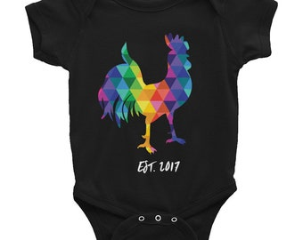 CUSTOM Infant Bodysuit Colorful Rainbow Rooster Cute Baby Snapsuit Funny One-piece Gifts for Baby Shower Gifts