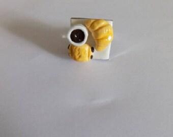Ring greedy breakfast polymer clay