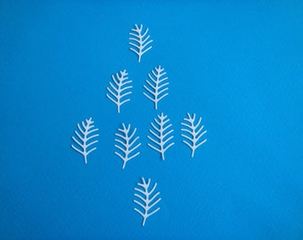 Set of 8 cut-out tree of thorns in white design for scrapbooking or card paper