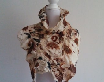 Silk scarf with wool, manually felted silk with wool elements.