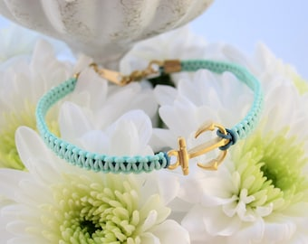 Matte Gold Anchor Hand Knotted Macrame Aqua Bracelet - Nautical for Summer!