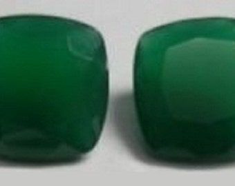 Natural Green Onyx- 10mm Faceted Cut Cushion Calibrated Size - Top Quality Green Color - Natural Loose Gemstone