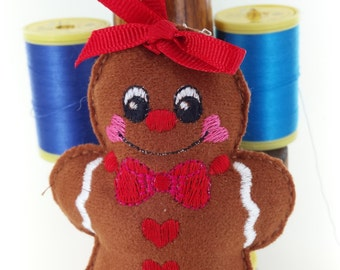 Cute Gingerbread Lady Decoration Handmade with embroidered detail Crafted From Soft suedette