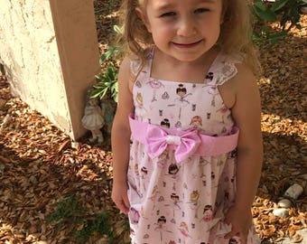 Sundress size 4T, ballerina fabric dress with lace detail