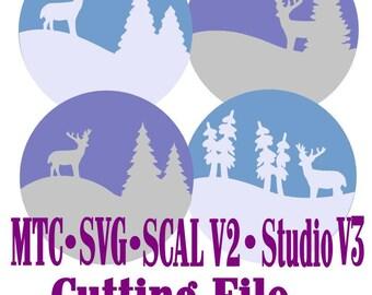 Nature Scene Holiday Gift Tag Designs 01 Cut Files MTC SVG SCAL v2 Digital Format Set of 4